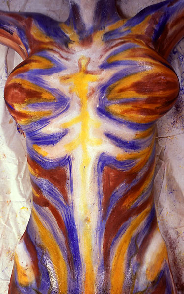 White Strike, 1999, bodypaint and photo by Fred Hatt