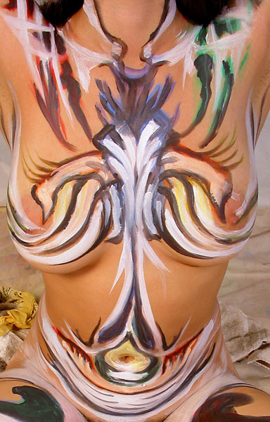 Projection, 2002, bodypaint and photo by Fred Hatt