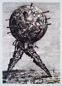 Drawing for II Sole 24 Ore (World Walking), 2007; Charcoal, gouache, pastel, and colored pencil on paper, Marian Goodman Gallery