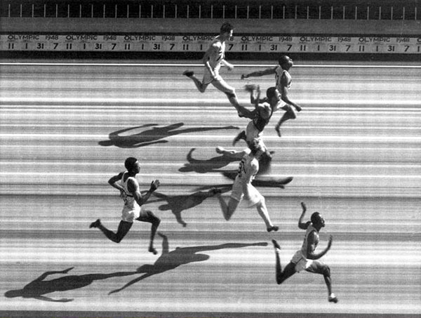 Harrison Dillard Winning the 100 Meter Dash at the Olympics, 1948, photo-finish photo