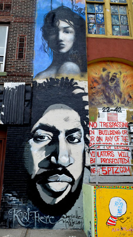 Kool Herc mural by Danielle Mastrion, 5 Pointz, photo by Fred Hatt