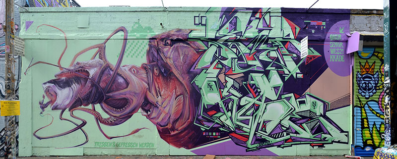 Mural by Onur, Senor, Wes21 and Kkade, 5 Pointz, photo by Fred Hatt